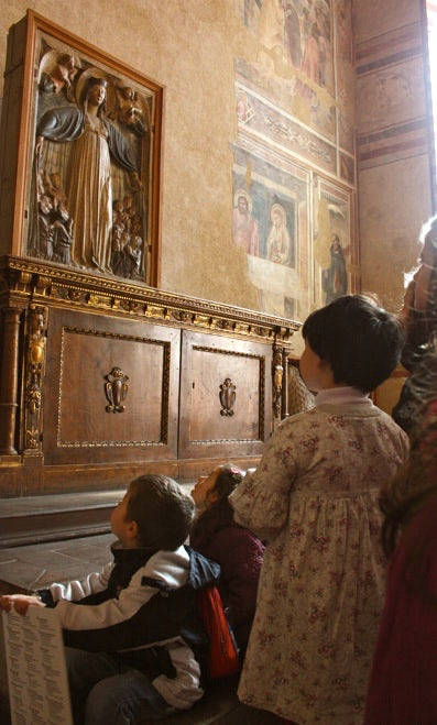 Scene in church at Santo Spirito at Florence, Tuscany