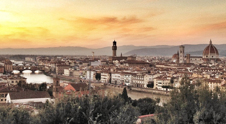 Magnifcent panoramic view from Piazzale Michelangelo in Florence