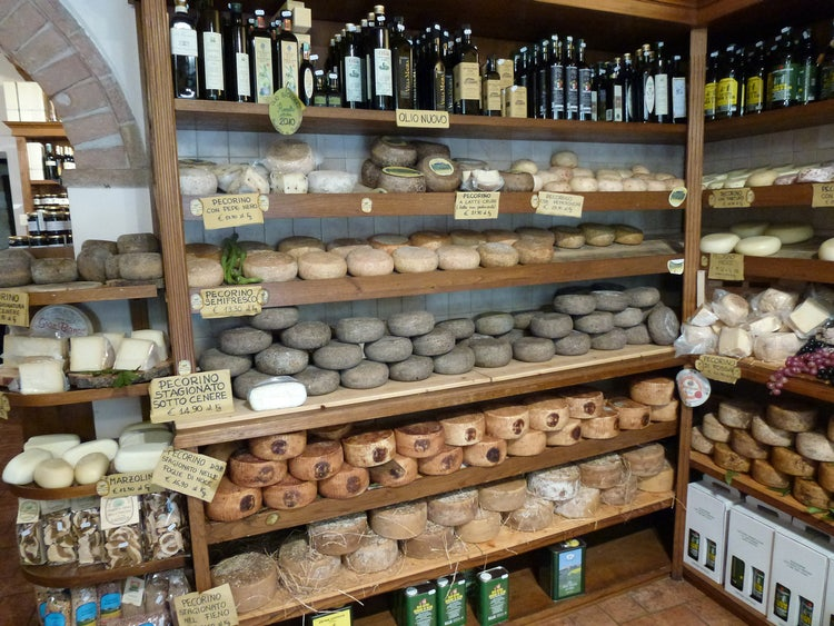 Vast selection of cheeses from Tuscany