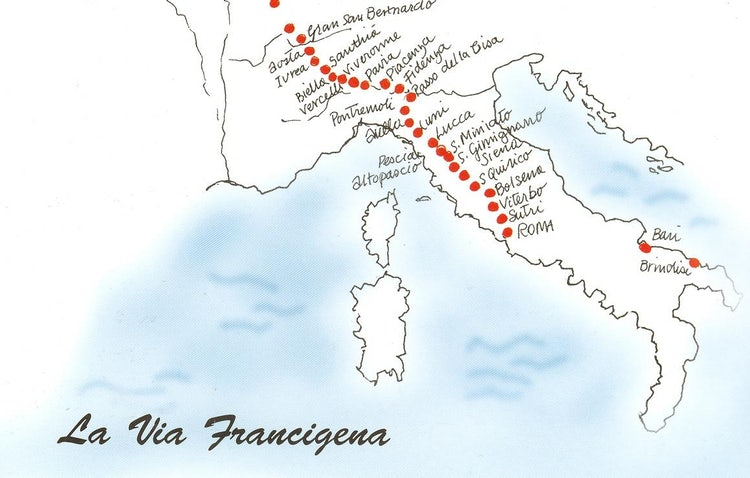 Map of via Francigena in Tuscany
