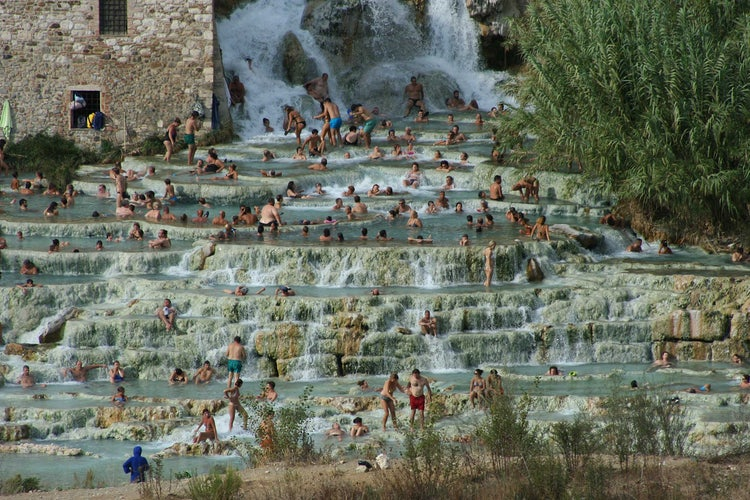Thermal waters at Saturnia hot springs near Grosseto