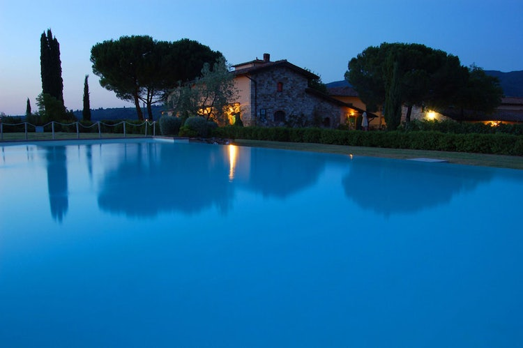 Sunset by the pool at the Viticcio Estate