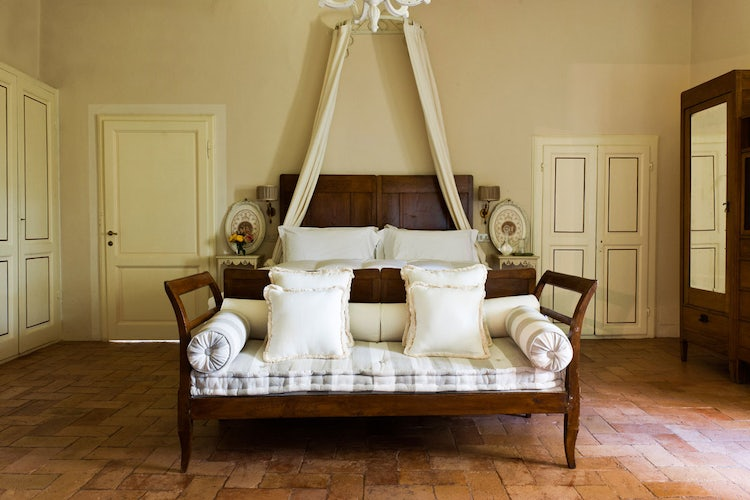 Soft colors and beautiful views from the bedrooms at B&B Villa Daniella in Vinci Tuscany