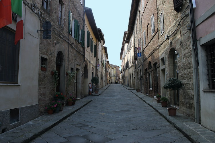 City streets of Radicondoli near Siena