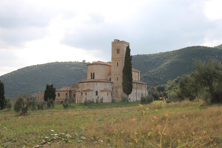 The gardens of Sant'Antimo near Montalcino